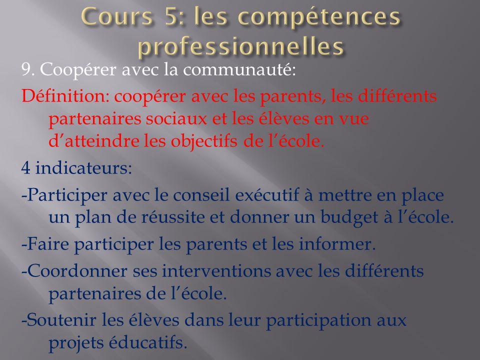 9. Coopérer avec la communauté: Définition: coopérer avec les parents, les différents partenaires sociaux et les élèves en vue datteindre les objectif