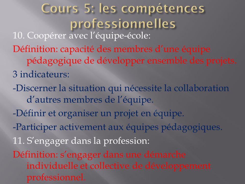 10. Coopérer avec léquipe-école: Définition: capacité des membres dune équipe pédagogique de développer ensemble des projets. 3 indicateurs: -Discerne
