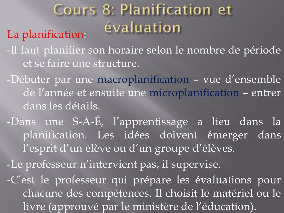 La planification: -Il faut planifier son horaire selon le nombre de période et se faire une structure. -Débuter par une macroplanification – vue dense