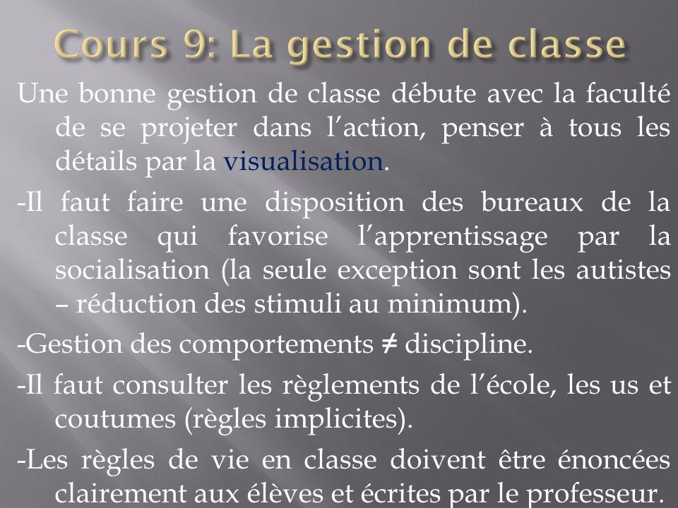 Une bonne gestion de classe débute avec la faculté de se projeter dans laction, penser à tous les détails par la visualisation. -Il faut faire une dis