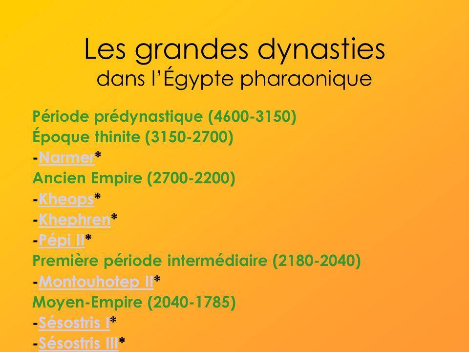 Les grandes dynasties dans lÉgypte pharaonique Période prédynastique (4600-3150) Époque thinite (3150-2700) -Narmer*Narmer Ancien Empire (2700-2200) -Kheops*Kheops -Khephren*Khephren -Pépi II*Pépi II Première période intermédiaire (2180-2040) -Montouhotep II*Montouhotep II Moyen-Empire (2040-1785) -Sésostris I*Sésostris I -Sésostris III*Sésostris III