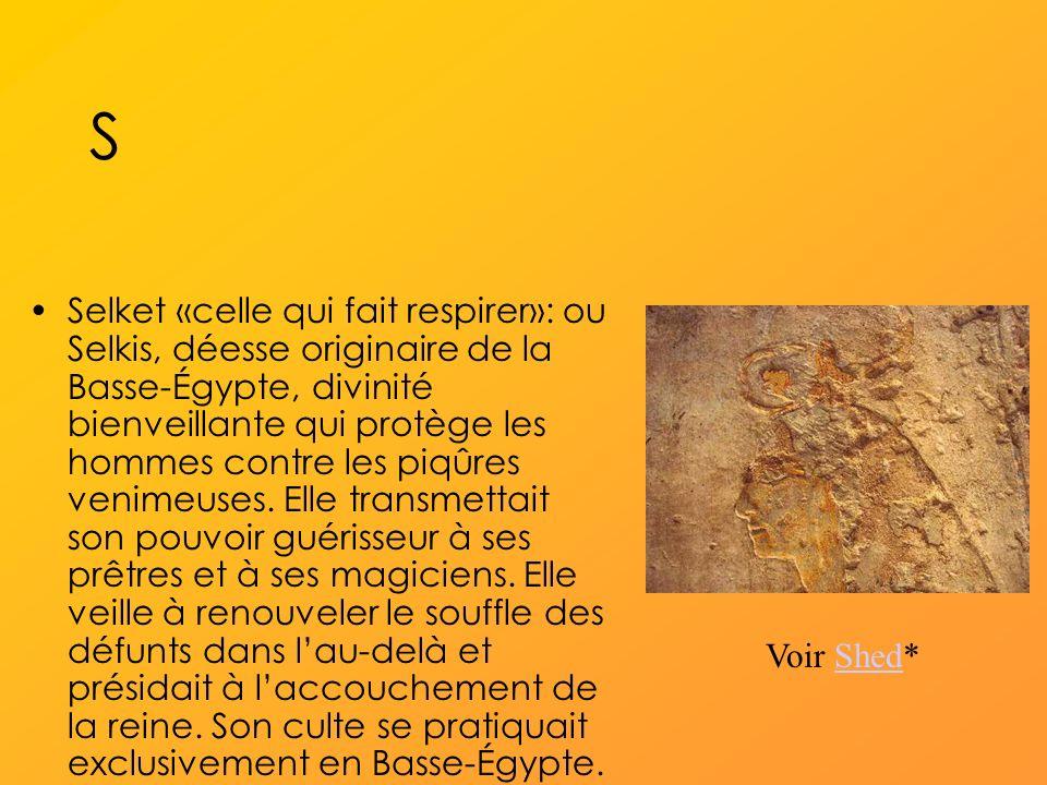 S Selket «celle qui fait respirer»: ou Selkis, déesse originaire de la Basse-Égypte, divinité bienveillante qui protège les hommes contre les piqûres venimeuses.