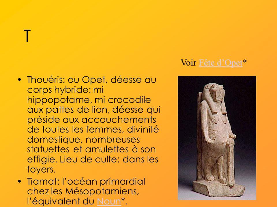 T Thouéris: ou Opet, déesse au corps hybride: mi hippopotame, mi crocodile aux pattes de lion, déesse qui préside aux accouchements de toutes les femmes, divinité domestique, nombreuses statuettes et amulettes à son effigie.