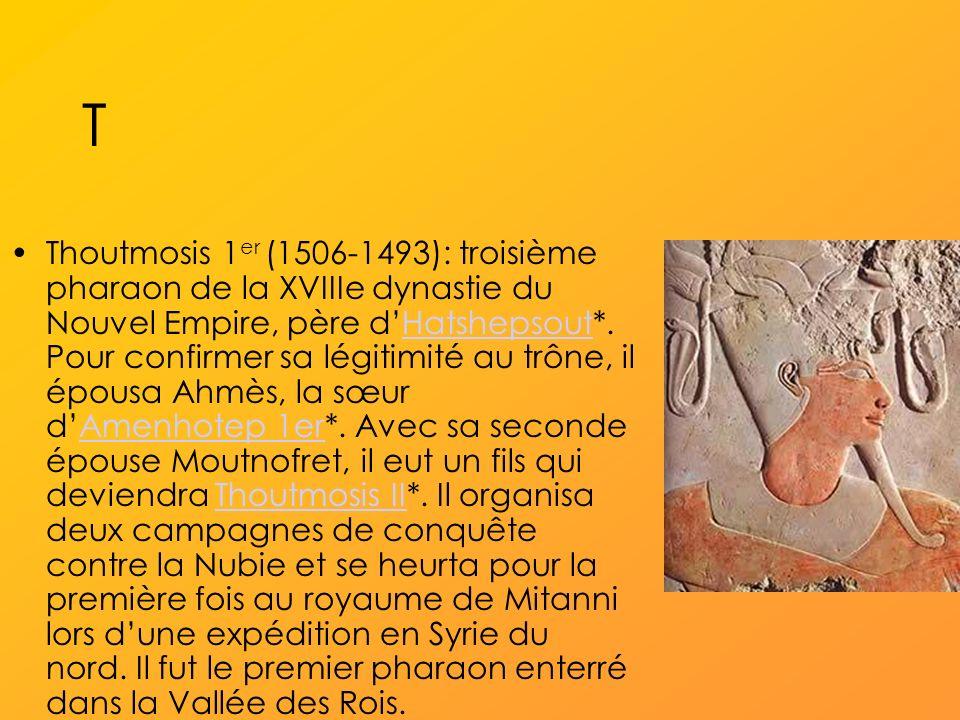 T Thoutmosis 1 er (1506-1493): troisième pharaon de la XVIIIe dynastie du Nouvel Empire, père dHatshepsout*.