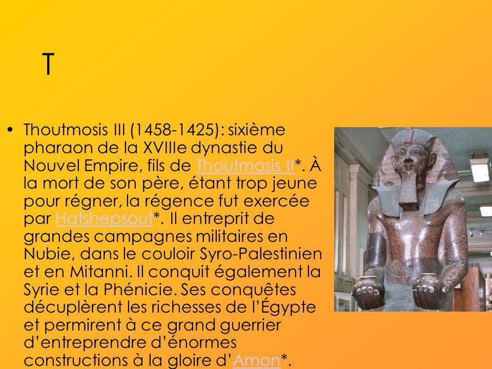 T Thoutmosis III (1458-1425): sixième pharaon de la XVIIIe dynastie du Nouvel Empire, fils de Thoutmosis II*.