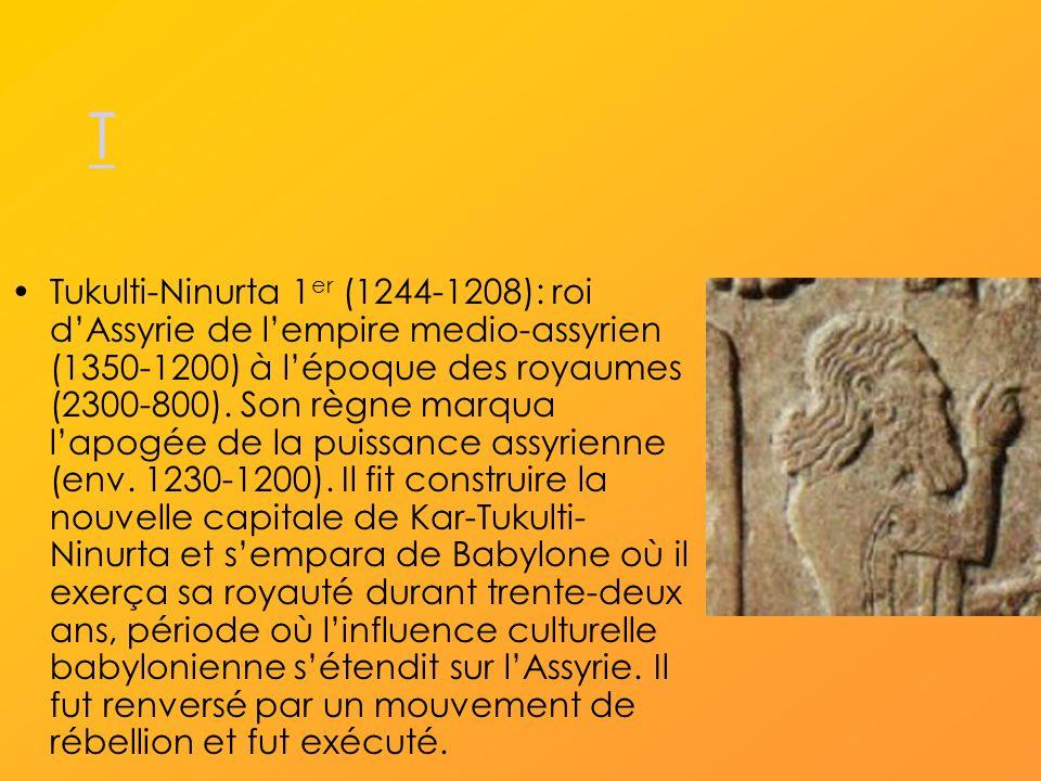 T Tukulti-Ninurta 1 er (1244-1208): roi dAssyrie de lempire medio-assyrien (1350-1200) à lépoque des royaumes (2300-800).