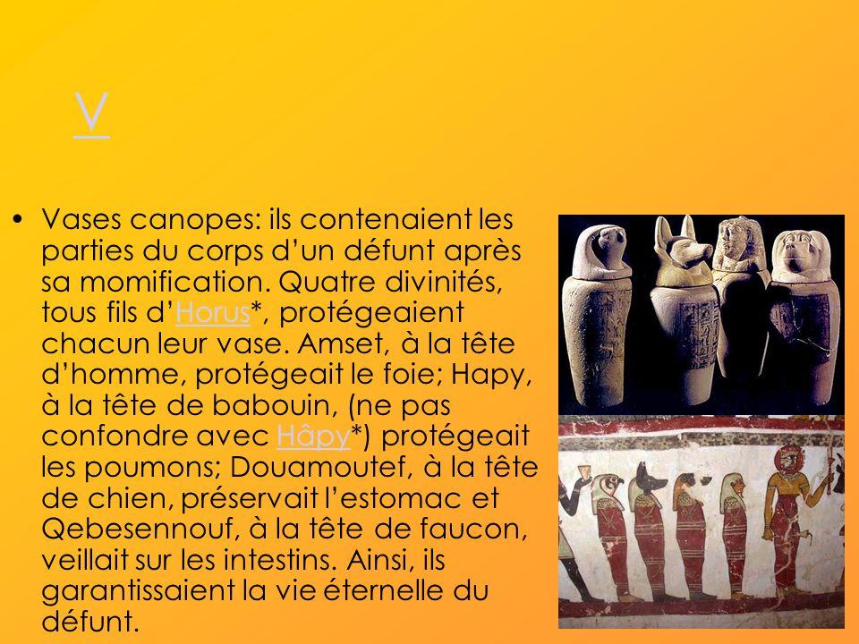 V Vases canopes: ils contenaient les parties du corps dun défunt après sa momification.