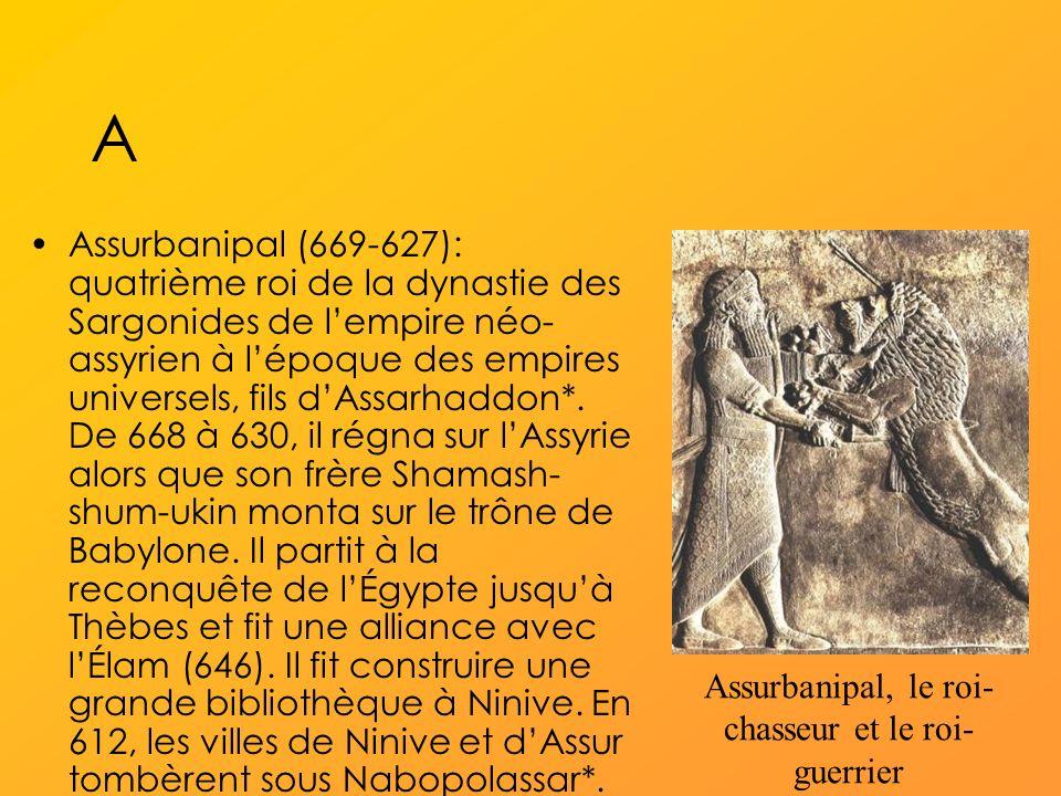 A Assurbanipal (669-627): quatrième roi de la dynastie des Sargonides de lempire néo- assyrien à lépoque des empires universels, fils dAssarhaddon*.