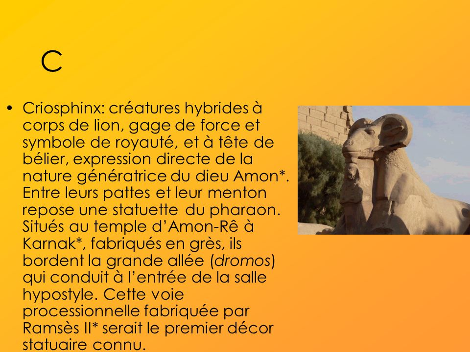C Criosphinx: créatures hybrides à corps de lion, gage de force et symbole de royauté, et à tête de bélier, expression directe de la nature génératrice du dieu Amon*.