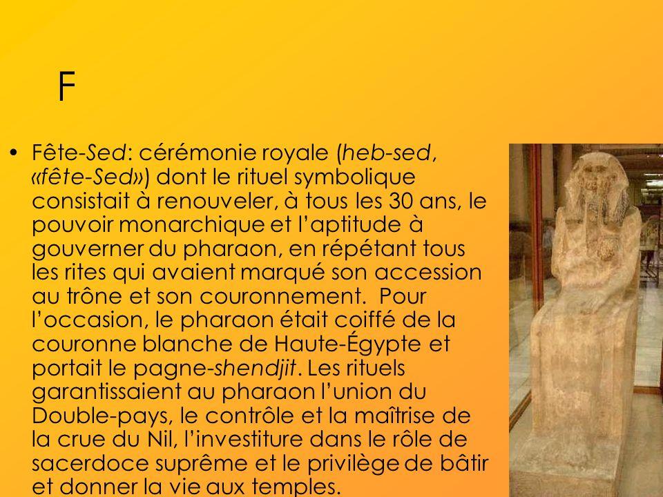 F Fête-Sed: cérémonie royale (heb-sed, «fête-Sed») dont le rituel symbolique consistait à renouveler, à tous les 30 ans, le pouvoir monarchique et laptitude à gouverner du pharaon, en répétant tous les rites qui avaient marqué son accession au trône et son couronnement.