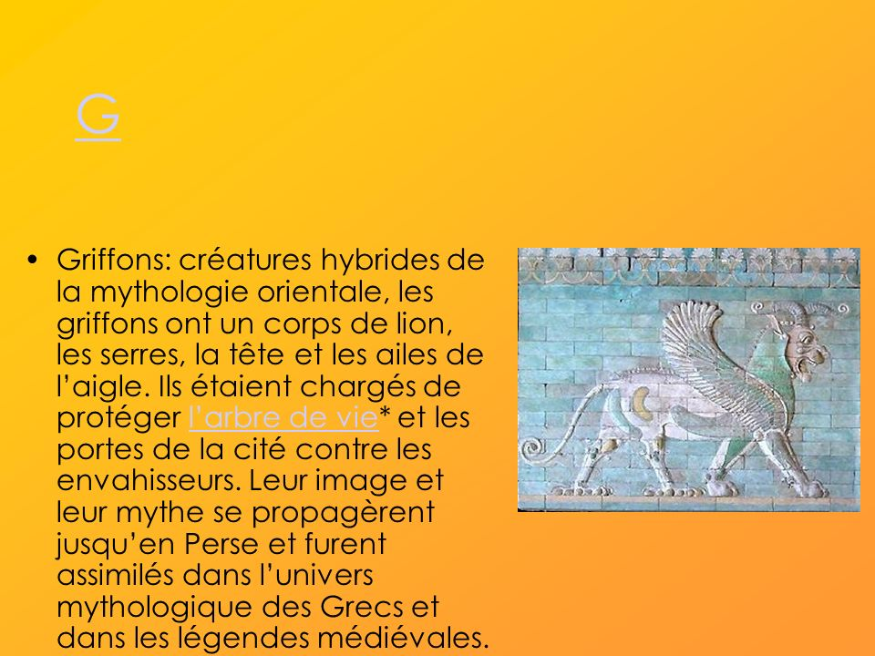 G Griffons: créatures hybrides de la mythologie orientale, les griffons ont un corps de lion, les serres, la tête et les ailes de laigle.