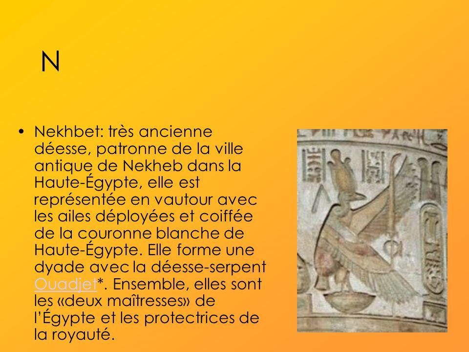 N Nekhbet: très ancienne déesse, patronne de la ville antique de Nekheb dans la Haute-Égypte, elle est représentée en vautour avec les ailes déployées et coiffée de la couronne blanche de Haute-Égypte.