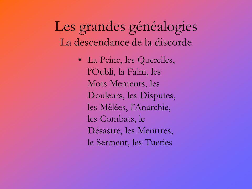 Les grandes généalogies La descendance de la discorde La Peine, les Querelles, lOubli, la Faim, les Mots Menteurs, les Douleurs, les Disputes, les Mêl
