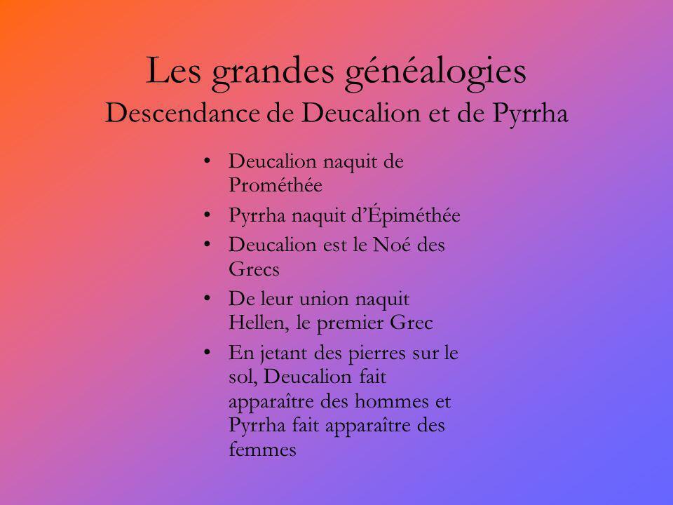 Les grandes généalogies Descendance de Deucalion et de Pyrrha Deucalion naquit de Prométhée Pyrrha naquit dÉpiméthée Deucalion est le Noé des Grecs De
