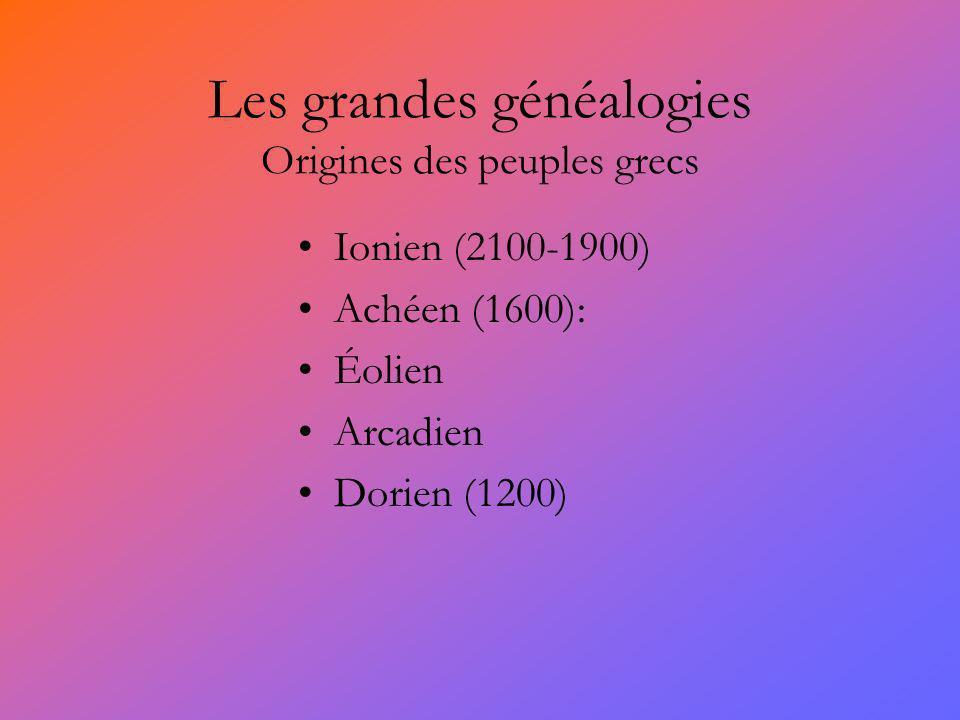 Les grandes généalogies Origines des peuples grecs Ionien (2100-1900) Achéen (1600): Éolien Arcadien Dorien (1200)