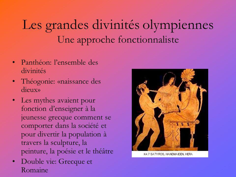 Les grandes divinités olympiennes Une approche fonctionnaliste Panthéon: lensemble des divinités Théogonie: «naissance des dieux» Les mythes avaient p