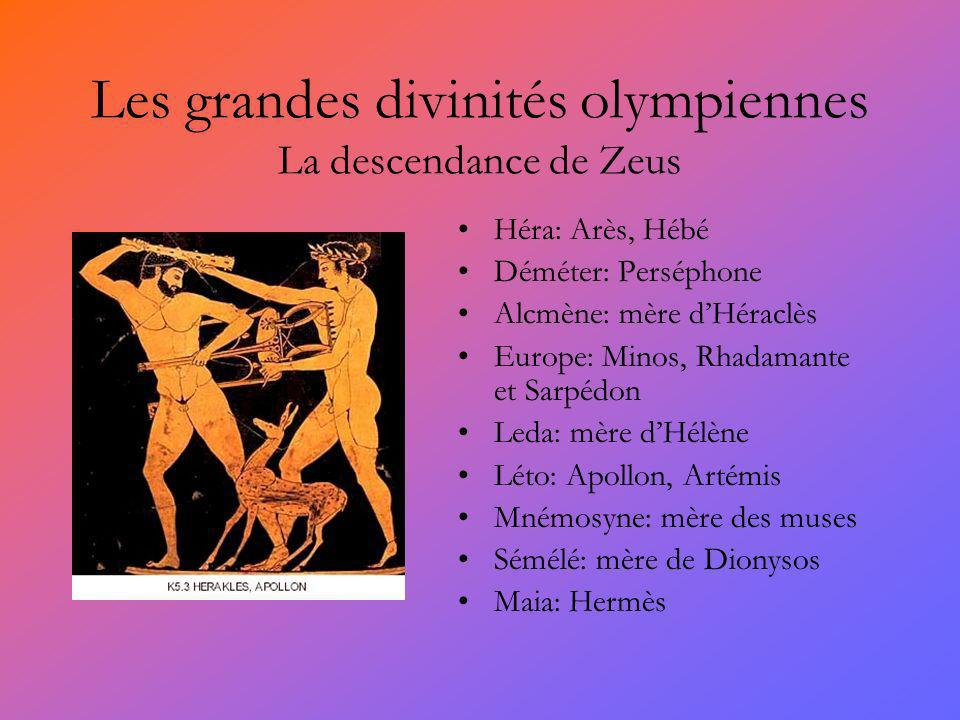 Les grandes divinités olympiennes La descendance de Zeus Héra: Arès, Hébé Déméter: Perséphone Alcmène: mère dHéraclès Europe: Minos, Rhadamante et Sar