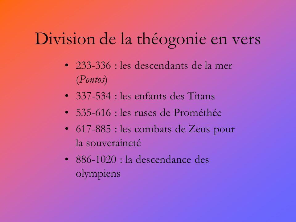 Division de la théogonie en vers 233-336 : les descendants de la mer (Pontos) 337-534 : les enfants des Titans 535-616 : les ruses de Prométhée 617-885 : les combats de Zeus pour la souveraineté 886-1020 : la descendance des olympiens