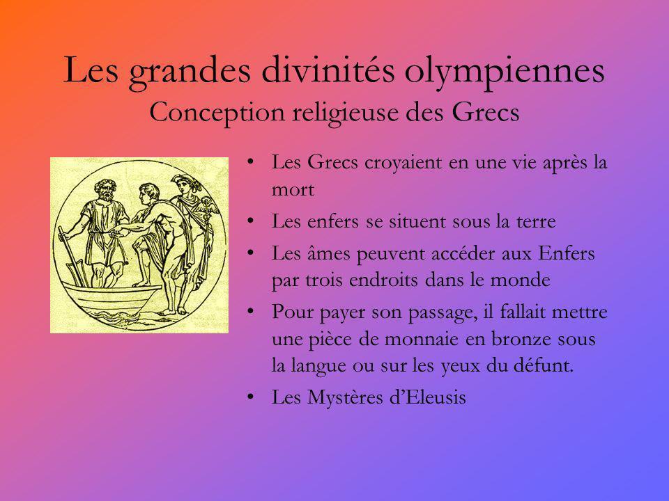 Les grandes divinités olympiennes Conception religieuse des Grecs Les Grecs croyaient en une vie après la mort Les enfers se situent sous la terre Les