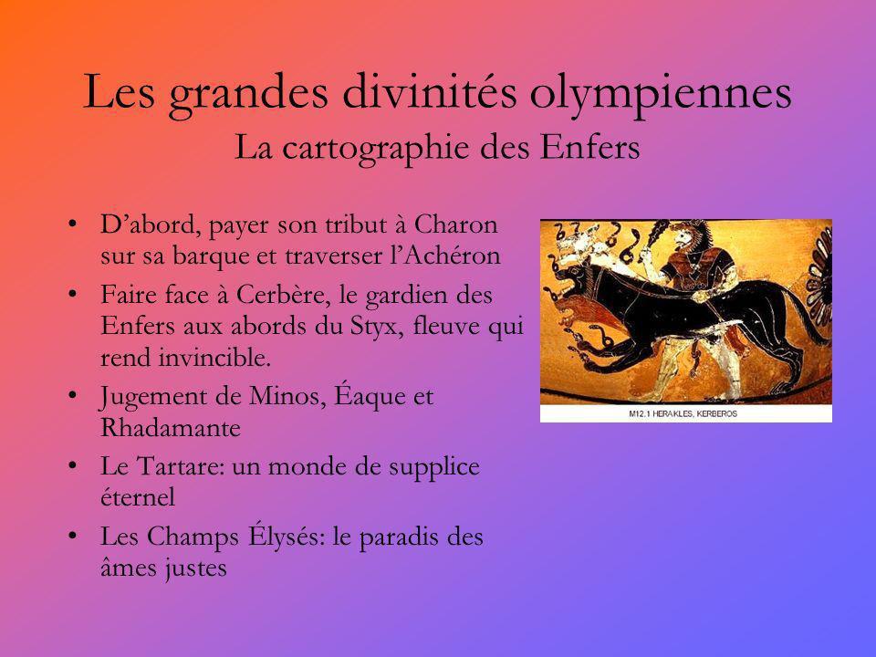 Les grandes divinités olympiennes La cartographie des Enfers Dabord, payer son tribut à Charon sur sa barque et traverser lAchéron Faire face à Cerbèr