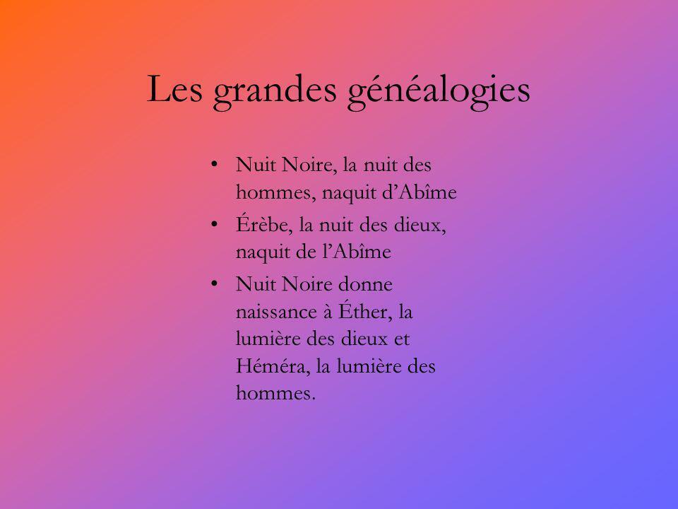 Les grandes généalogies Nuit Noire, la nuit des hommes, naquit dAbîme Érèbe, la nuit des dieux, naquit de lAbîme Nuit Noire donne naissance à Éther, l