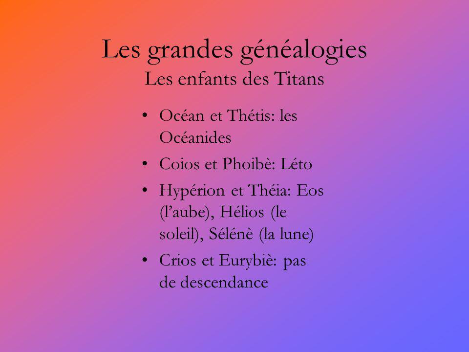 Les grandes généalogies Les enfants des Titans Océan et Thétis: les Océanides Coios et Phoibè: Léto Hypérion et Théia: Eos (laube), Hélios (le soleil)