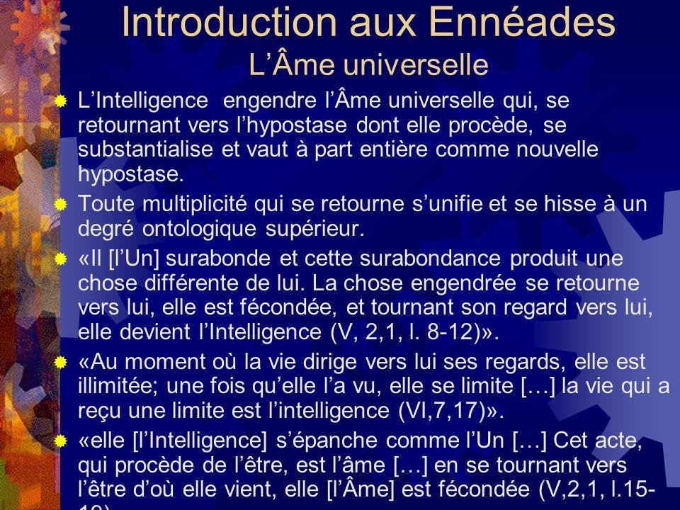 Introduction aux Ennéades LÂme universelle LIntelligence engendre lÂme universelle qui, se retournant vers lhypostase dont elle procède, se substantia