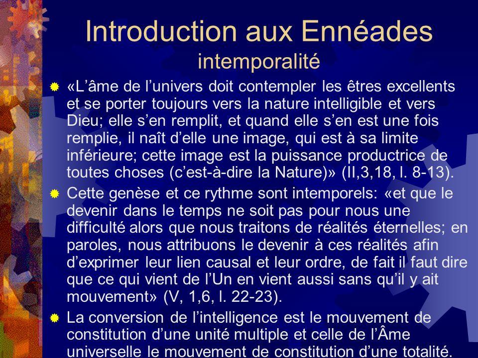 Introduction aux Ennéades intemporalité «Lâme de lunivers doit contempler les êtres excellents et se porter toujours vers la nature intelligible et ve