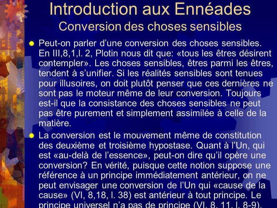 Introduction aux Ennéades Conversion des choses sensibles Peut-on parler dune conversion des choses sensibles. En III,8,1,l. 2, Plotin nous dit que: «