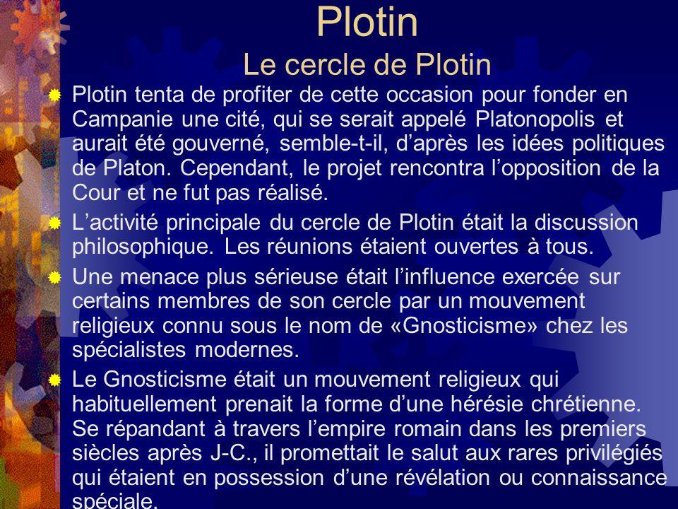 Plotin Le cercle de Plotin Plotin tenta de profiter de cette occasion pour fonder en Campanie une cité, qui se serait appelé Platonopolis et aurait ét