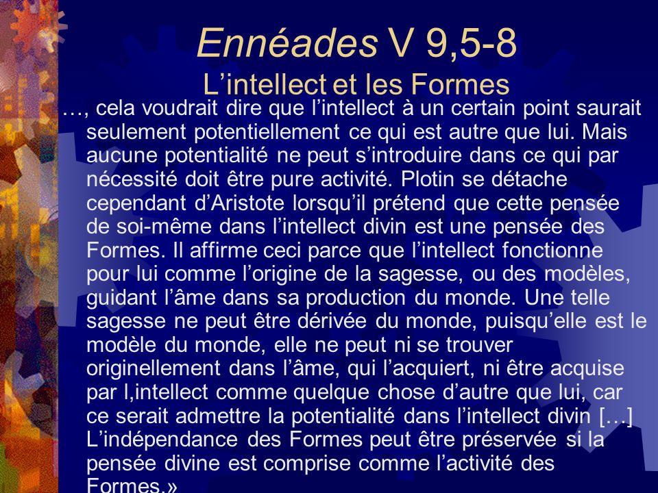 Ennéades V 9,5-8 Lintellect et les Formes …, cela voudrait dire que lintellect à un certain point saurait seulement potentiellement ce qui est autre q