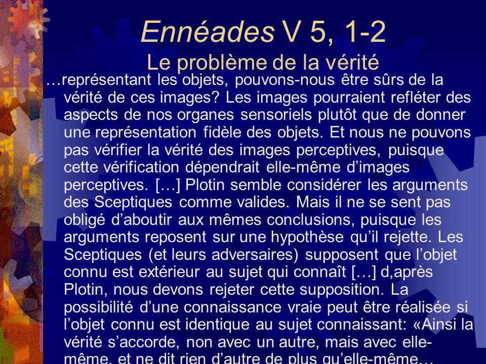 Ennéades V 5, 1-2 Le problème de la vérité …représentant les objets, pouvons-nous être sûrs de la vérité de ces images? Les images pourraient refléter