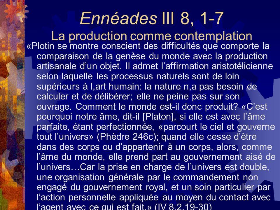 Ennéades III 8, 1-7 La production comme contemplation «Plotin se montre conscient des difficultés que comporte la comparaison de la genèse du monde av