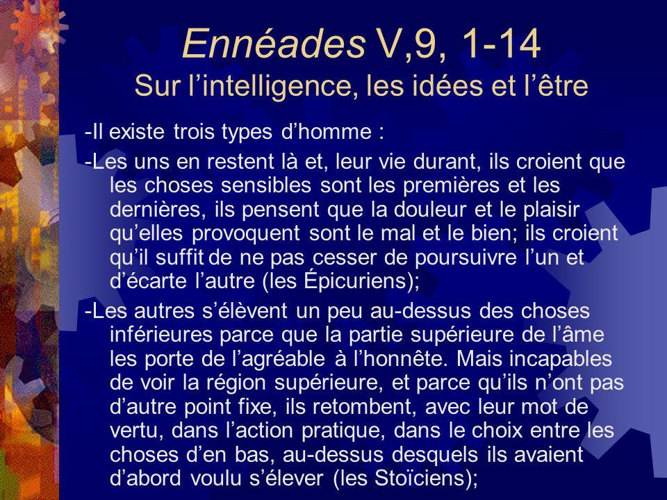 Ennéades V,9, 1-14 Sur lintelligence, les idées et lêtre -Il existe trois types dhomme : -Les uns en restent là et, leur vie durant, ils croient que l