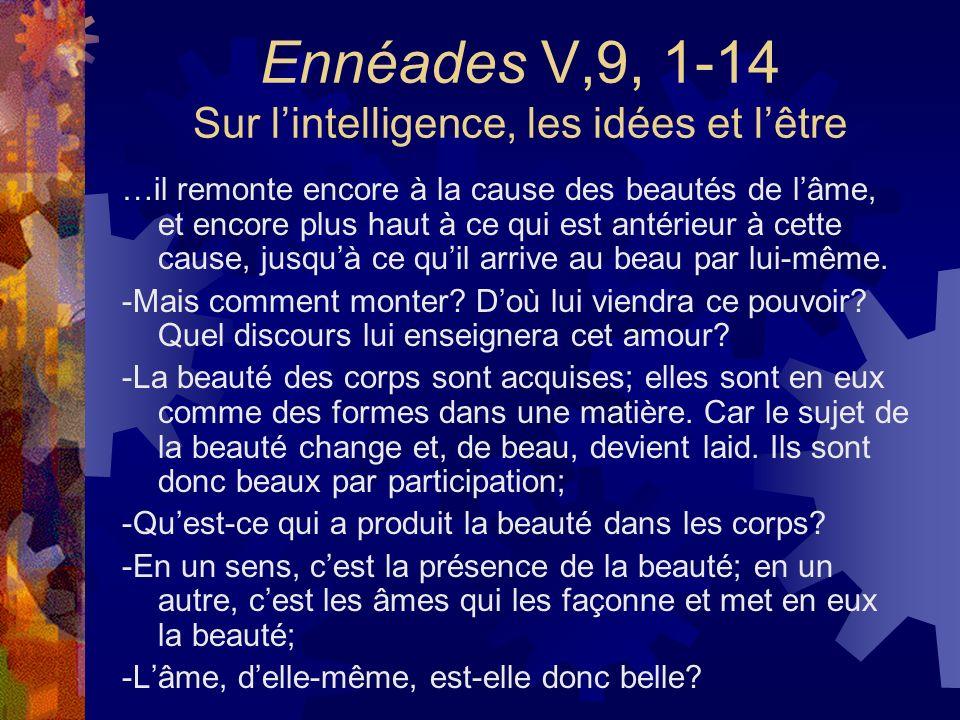 Ennéades V,9, 1-14 Sur lintelligence, les idées et lêtre …il remonte encore à la cause des beautés de lâme, et encore plus haut à ce qui est antérieur