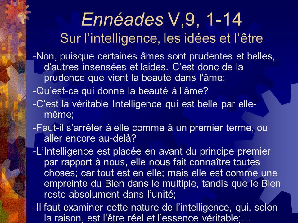 Ennéades V,9, 1-14 Sur lintelligence, les idées et lêtre -Non, puisque certaines âmes sont prudentes et belles, dautres insensées et laides. Cest donc