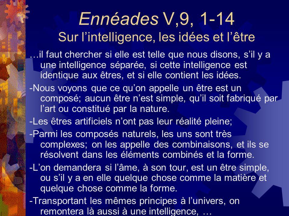 Ennéades V,9, 1-14 Sur lintelligence, les idées et lêtre …il faut chercher si elle est telle que nous disons, sil y a une intelligence séparée, si cet