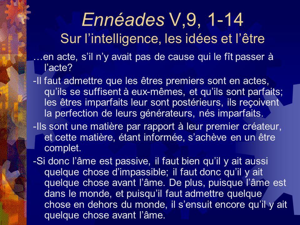 Ennéades V,9, 1-14 Sur lintelligence, les idées et lêtre …en acte, sil ny avait pas de cause qui le fît passer à lacte? -Il faut admettre que les être