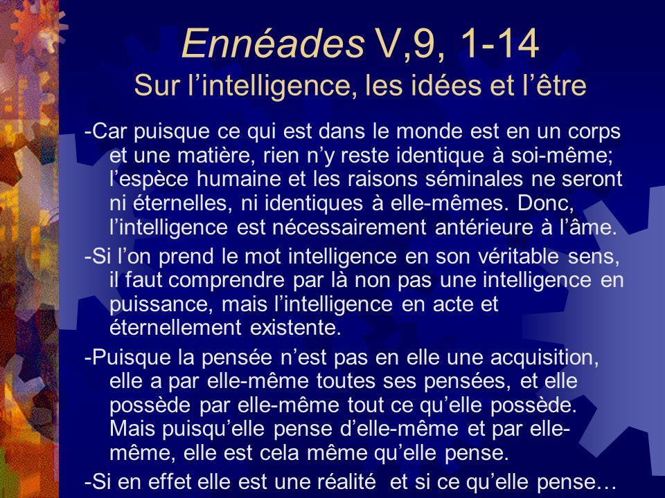 Ennéades V,9, 1-14 Sur lintelligence, les idées et lêtre -Car puisque ce qui est dans le monde est en un corps et une matière, rien ny reste identique