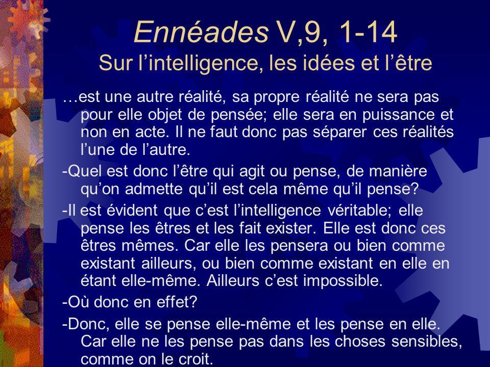 Ennéades V,9, 1-14 Sur lintelligence, les idées et lêtre …est une autre réalité, sa propre réalité ne sera pas pour elle objet de pensée; elle sera en