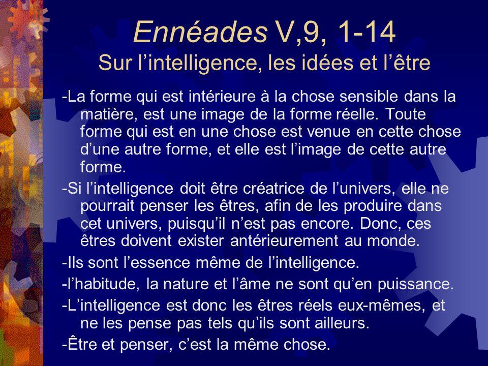Ennéades V,9, 1-14 Sur lintelligence, les idées et lêtre -La forme qui est intérieure à la chose sensible dans la matière, est une image de la forme r