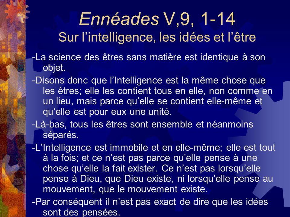 Ennéades V,9, 1-14 Sur lintelligence, les idées et lêtre -La science des êtres sans matière est identique à son objet. -Disons donc que lIntelligence