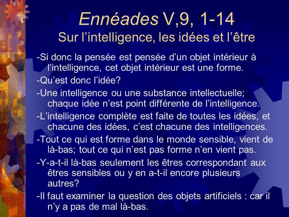 Ennéades V,9, 1-14 Sur lintelligence, les idées et lêtre -Si donc la pensée est pensée dun objet intérieur à lintelligence, cet objet intérieur est un