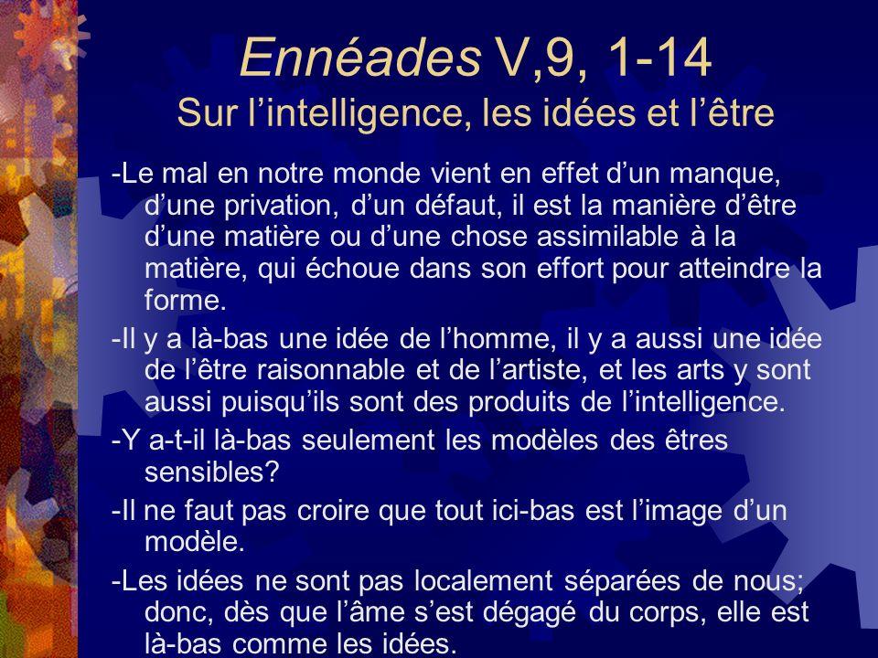 Ennéades V,9, 1-14 Sur lintelligence, les idées et lêtre -Le mal en notre monde vient en effet dun manque, dune privation, dun défaut, il est la maniè