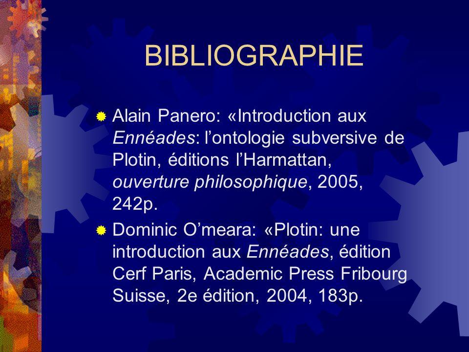 BIBLIOGRAPHIE Alain Panero: «Introduction aux Ennéades: lontologie subversive de Plotin, éditions lHarmattan, ouverture philosophique, 2005, 242p. Dom