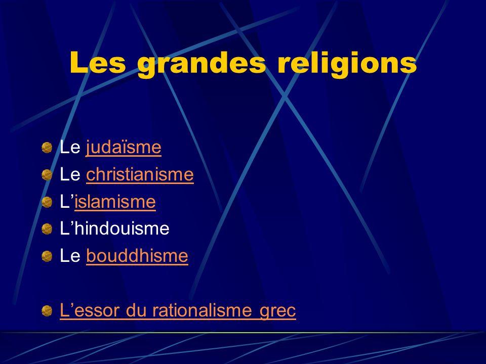 Les grandes religions Le judaïsmejudaïsme Le christianismechristianisme Lislamismeislamisme Lhindouisme Le bouddhismebouddhisme Lessor du rationalisme