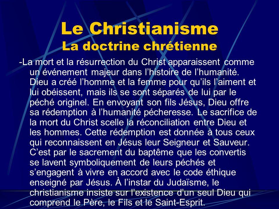 Le Christianisme La doctrine chrétienne -La mort et la résurrection du Christ apparaissent comme un événement majeur dans lhistoire de lhumanité. Dieu