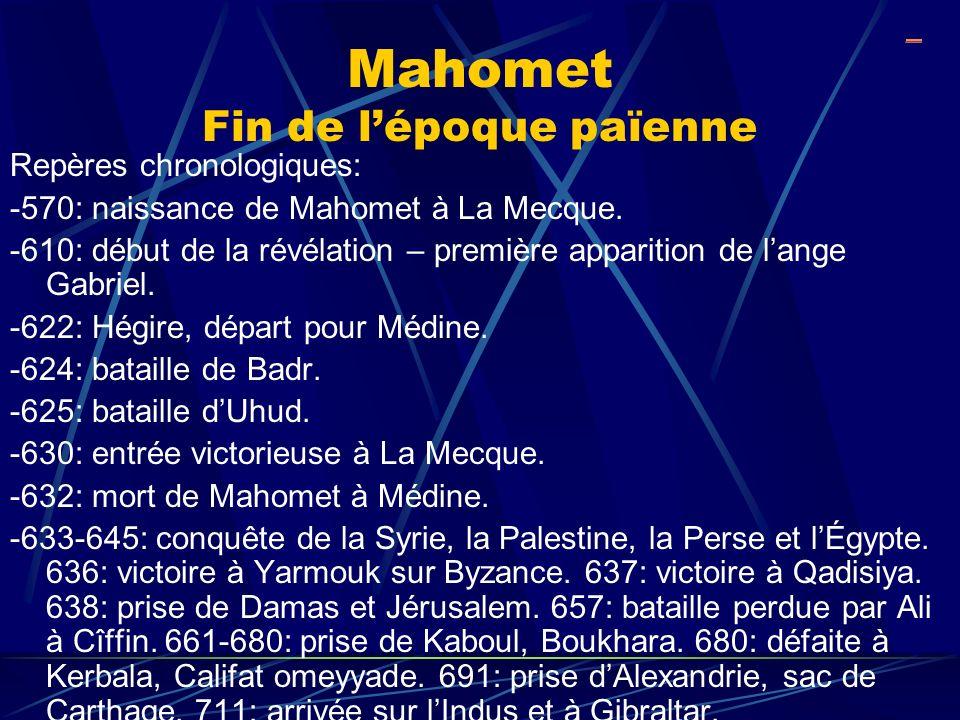 Mahomet Fin de lépoque païenne Repères chronologiques: -570: naissance de Mahomet à La Mecque. -610: début de la révélation – première apparition de l