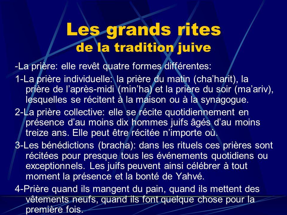 Les grands rites de la tradition juive -La prière: elle revêt quatre formes différentes: 1-La prière individuelle: la prière du matin (chaharit), la p