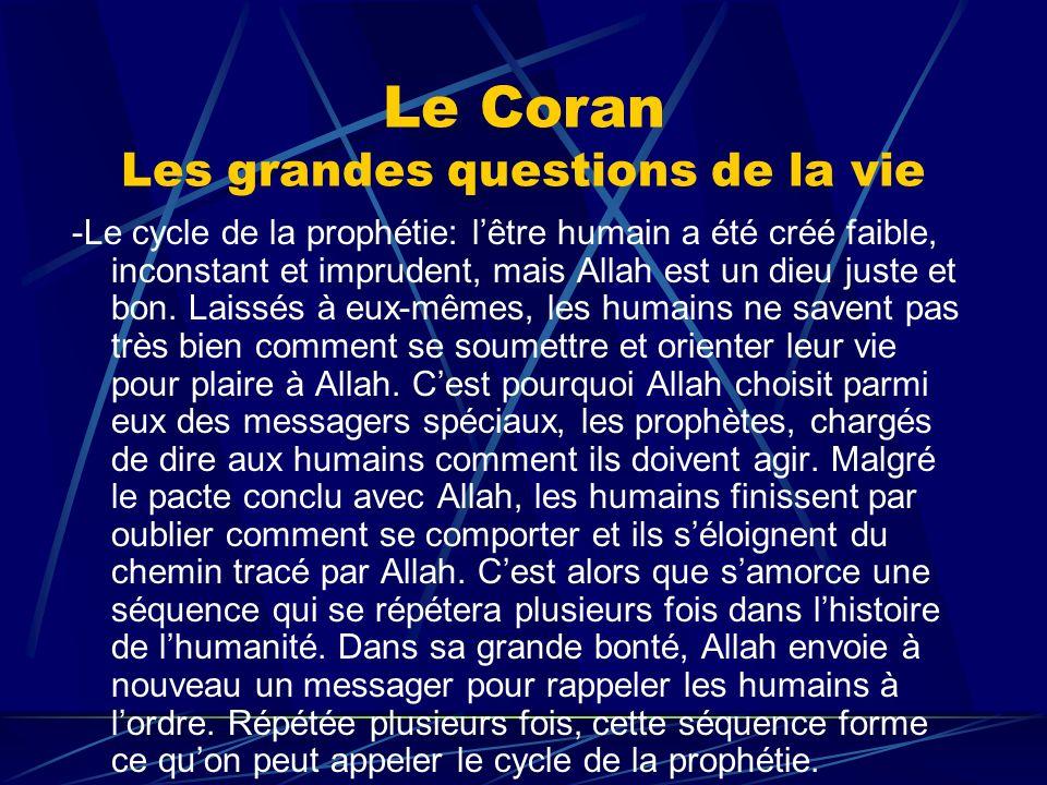 Le Coran Les grandes questions de la vie -Le cycle de la prophétie: lêtre humain a été créé faible, inconstant et imprudent, mais Allah est un dieu ju
